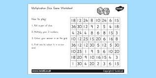 multiplication dice game worksheet australia multiplication