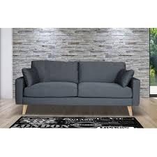 canapé anthracite canapé 3 places fixe en tissu pieds bois coloris gris maison et