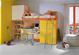 seamless kids bedroom set with all in one loft bed also bean bag