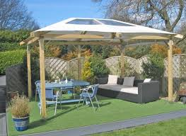 Backyard Canopy Ideas by Adorable Slopping Wooden Gazebo Canopy Decors Set On Green Grass