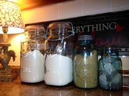 kitchen canister sets for counter with jars and decoration flour
