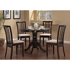 dining room table and chair sets amazon com 5 pc dining table 4 chairs chair set cappuccino