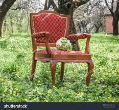 Chair In Garden Beautiful Bouquet On Chair Cozy Garden Stock Photo 409037464