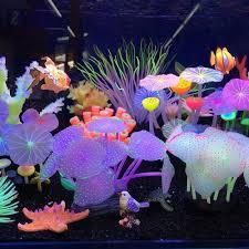 1pcs Aquariums Accessories Artificial Coral Reef Glowing Lotus