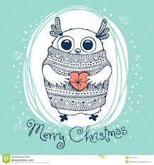 hand drawn vector illustration with cute eagle owl stock vector