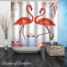 Curtains Birds Theme Shower Curtains Flamingos Digital Painting Shower Of Curtains
