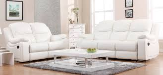 3 Seater Leather Recliner Sofa Living Room White Leather Living Room Set 3 Reclining