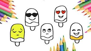 emoji ice cream drawing and coloring pages video for kids coloring