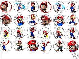 mario cake toppers 24 x mario 1 6 edible rice wafer paper cup cake toppers