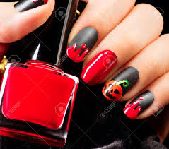 halloween nail art design nail polish stock photo picture and