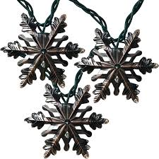 brushed copper snowflake string lights