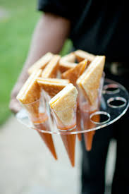 mini grilled cheese sandwiches and tomato soup cocktail party
