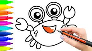 how to draw and coloring funny crab colouring videos for kids