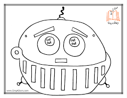coloring page delightful robot mask template big bw coloring