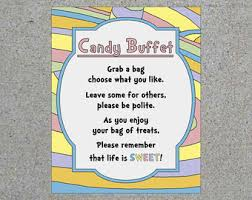 Baby Shower Candy Buffet Sign by Candy Bar Printable Etsy