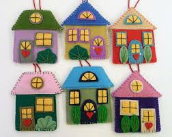 felt house ornament etsy