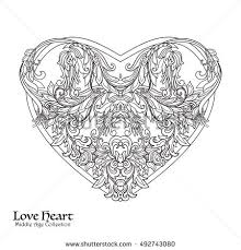 decorative love heart baroque royal style stock vector 492743080