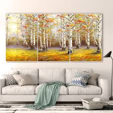 Living Room Art Paintings Aliexpress Com Buy Birch Forest In Fall Decoracion Canvas