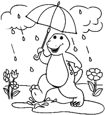barney walking rain barney friends coloring