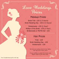 bridal hair prices wedding makeup prices wedding corners