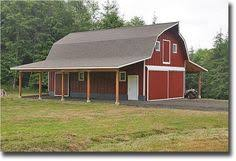 red gambrel barn with lean to scandinavian design pinterest