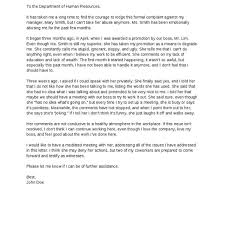 sample of complaint letter to human resources u2013 cover letter
