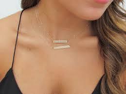 nameplate bar necklace wedding date numeral bar necklace engraved gold bar