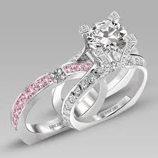 wedding ring set white and pink cubic zirconia 925 sterling silver white gold