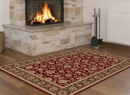 red oriental floral vine traditional area rug multi color border