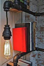 industrial pipe shelving with lights vintage industrial pipe