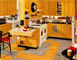 bright yellow color scheme in old fashioned kitchen idea with