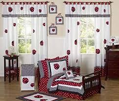 Ladybug Crib Bedding Set Sweet Jojo Designs 5 And White Polka Dot