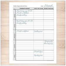 printable organization quiz for students weekly school assignments and tests sheet printable school