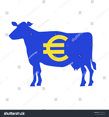 Blue Yellow And Black Flag Silhouette Cow Euro Symbol Blue Yellow Stock Vector 314013641