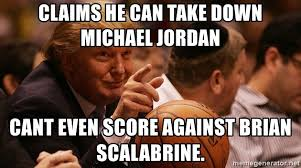 Brian Scalabrine Meme - claims he can take down michael jordan cant even score against