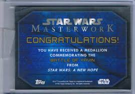 Star Wars Congratulations Card 2016 Topps Star Wars Masterwork Battle Of Yavin Bronze Medallion