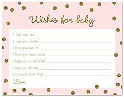 wishes for baby cards 48 cnt gold glitter graphic dots pink baby wishes card