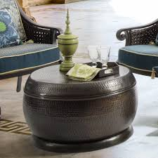 bombay outdoors madras hammered bronze drum coffee table madras