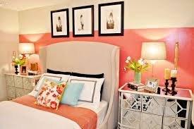 mirrored nightstands bedroom transitional with bedding carpet