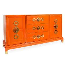 Credenzas Turner Orange And Brass Credenza Modern Furniture Jonathan Adler