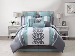 White Bed Set King Bedroom Bedding Set With Mint Gray White Duvet Cover With Sham