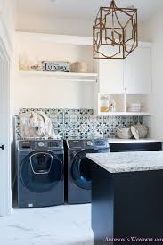 Laundry Room Decor Laundry Room Organization Ideas White Black Cabinets Cement Tile