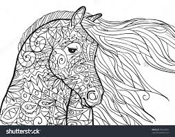hand drawn coloring pages with horse u0027s head illustration for