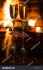 two glasses sparkling wine front warm stock photo 357901352