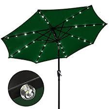 patio umbrella with solar led lights amazon com 9 ft outdoor tilt umbrella with solar led lights green
