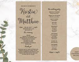 kraft paper wedding programs custom program etsy