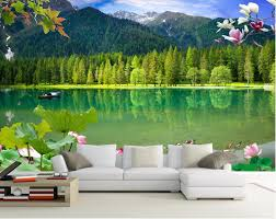 popular 3d wallpaper mountain lake buy cheap 3d wallpaper mountain custom mural photo 3d room wallpaper lotus mountain lakes decoration painting picture 3d wall murals wallpaper