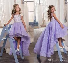 2017 cute lilac lace high low flower dresses for weddings