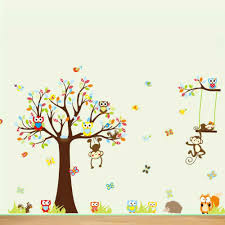 Nursery Monkey Wall Decals Tree Zoo Wall Sticker For Nursery Squirrel Fox Owls Monkey Wall