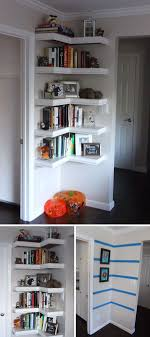Corner Wall Bookcase Make A Corner Wall Shelf With L Shape To Get The Most Of The Space